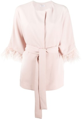 P.A.R.O.S.H. Feather-Trim Belted Coat