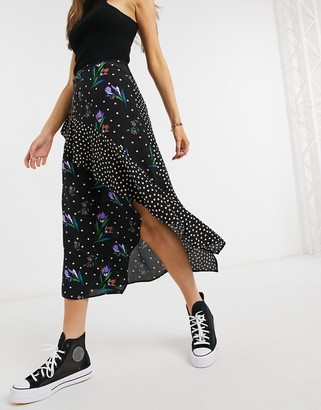 ASOS DESIGN ruffle midi skirt in mix and match print