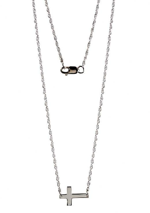 Jennifer Zeuner Jewelry Mini Horizontal Cross Necklace - as seen on Jennifer Lopez -