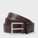 Paul Smith Men's Dark Brown Saffiano Stripe Leather Suit Belt
