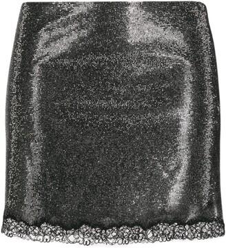 Philosophy di Lorenzo Serafini Rhinestone-Embellished Lace-Hem Skirt