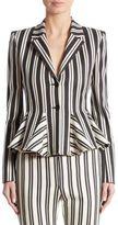 Altuzarra Clary Striped Godet Wool & Cotton Jacket