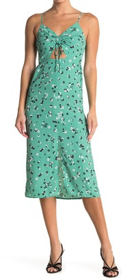 Topshop Molly Front Cutout Ruched Floral Midi Dress
