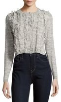 Rebecca Taylor Heathered Fringed Cardigan