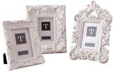 "Twos Company Two's Company White Mod Ornate Photo Frames (Set of 3), 4"" x 6"""