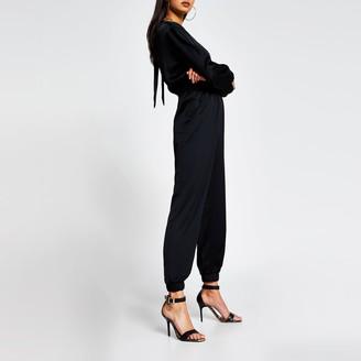 River Island Womens Black long sleeve elasticated waist jumpsuit