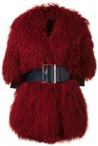 Christian Dada big belt buckled coat - women - Leather/Wool/Tibetan Lamb Fur - 36