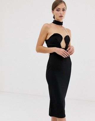 Asos Design DESIGN midi bandeau bodycon dress with chain back detail-Black