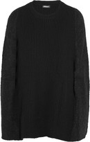 DKNY Bouclé-paneled ribbed wool-blend poncho