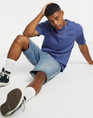 Levi's embroidered serif logo t-shirt in blue indigo