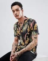 AllSaints Short Sleeve Revere Shirt With Tropical Print