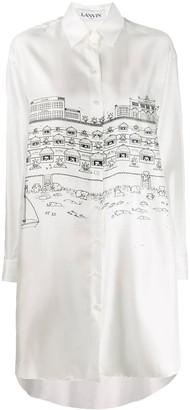 Lanvin White Cityscape Shirt Dress