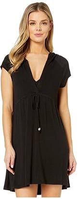 Dotti Resort Solids Raglan Hoodie Dress Cover-Up (Black) Women's Swimwear