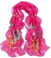 Leewa Women Butterfly Pattern Long Scarves Shawl Scarf (160 x 50cm, Hot Pink)