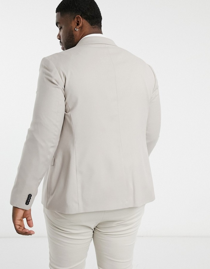 Thumbnail for your product : Topman Big & Tall skinny suit jacket in stone