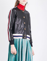 Gucci Embroidered leather bomber jacket