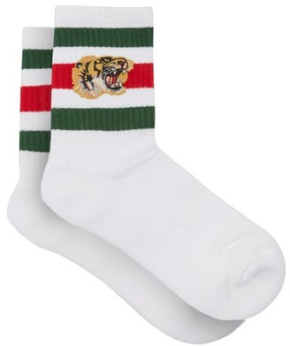 Gucci Stretch Cotton-blend Socks With Tiger - White