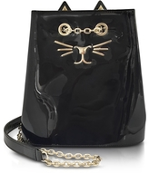 Charlotte Olympia Feline Black Patent Leather Bucket Bag