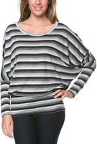 Celeste Gray Stripe Blouson Top