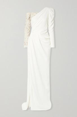 BURNETT NEW YORK One-shoulder Embellished Tulle-paneled Crepe Gown - Ivory