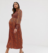 Queen Bee Maternity long sleeve shirred bust midi dress in contrast leopard