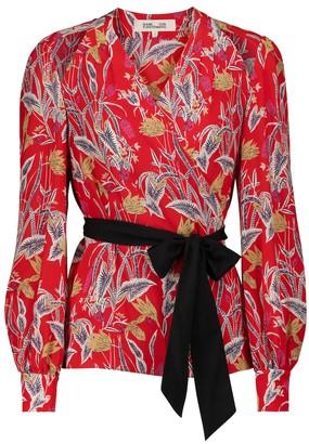 Diane von Furstenberg Hesy silk crepe de chine wrap blouse