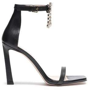 Stuart Weitzman Embellished Cutout Leather Sandals