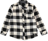 Molo Richie Long-Sleeve Check Shirt, Black/White, Size 3-12