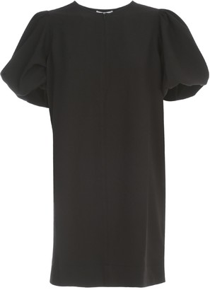 Ganni Heavy Crepe Dress Balloon 3/4s Crew Neck