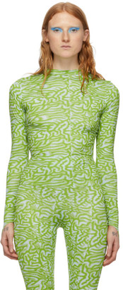 MAISIE WILEN Blue and Green Patterned Turtleneck