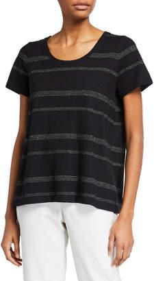 Eileen Fisher Striped U-Neck Short-Sleeve Jersey Tee