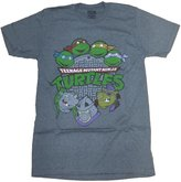 Nickelodeon Teenage Mutant Ninja Turtles Old School Men's T-Shirt (Heather Grey,)