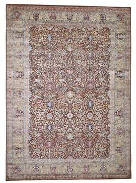 """Bellino Charlton Home One-of-a-Kind Oushak Oriental Hand-Knotted 8'10"""" x 12'4"""" Wool/Silk Brown Area Rug Charlton Home"""