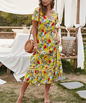 Gaovot Women's Career Dresses yellow - Yellow Floral Ruffle-Hem A-Line Dress - Women