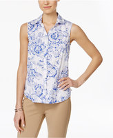 Charter Club Sleeveless Print Shirt, Only at Macy's