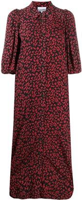 Ganni Floral-Print Shirt Dress