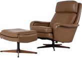 One Kings Lane Vintage Ostervig Leather Lounge Chair & Ottoman - Castle Antiques & Design - cognac, walnut, black