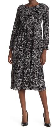Velvet Torch Printed Ruffle Midi Dress
