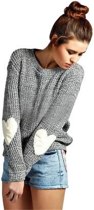 Doballa Women's Cute Heart Pattern Elbow Patch Long Sleeve Lightweight Marled Pullover Sweater Jumper Top Grey