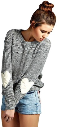 FUTURINO Women's Heart Patchwork Elbow Crewneck Marled Knitted Pullover Jumper Sweater Grey