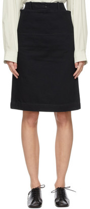 Lemaire Black Denim Straight Miniskirt