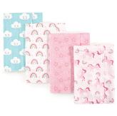 Luvable Friends Pink Unicorn & Rainbow Flannel Burp Cloth - Set of Four