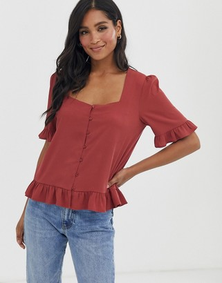 Vero Moda button front square neck blouse