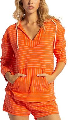 Lagaci Women's Sweatshirts and Hoodies CORAL - Coral Stripe Kangaroo-Pocket V-Neck Hoodie - Women