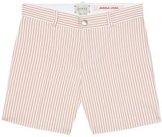 Gucci Kids Striped silk-blend shorts