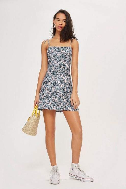 Topshop Ditsy Button Through Mini Slip Dress
