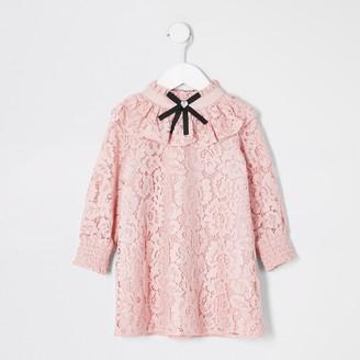 River Island Mini girls Pink lace bow neck dress
