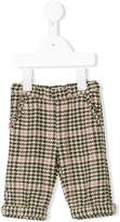 Il Gufo ruffle trim checked houndstooth trousers