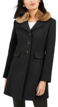Kate Spade Faux-Fur-Trim Walker Coat