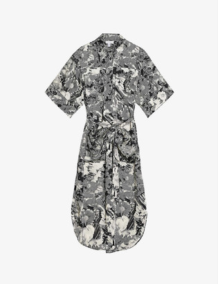 Topshop Boutique floral-print midi cotton shirt dress